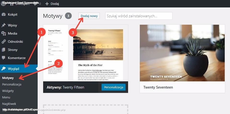 Dodawanie motywu Divi w panelu administracyjnym WordPress