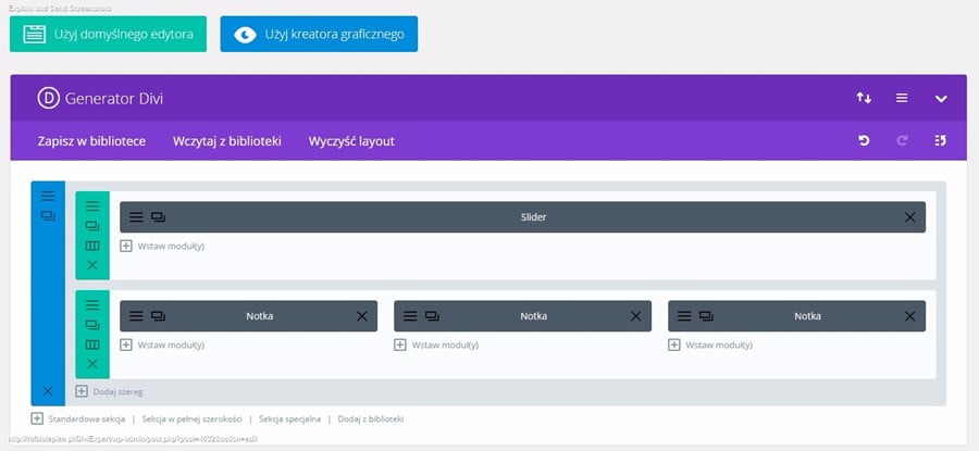 divi builder od strony panelu wordpress