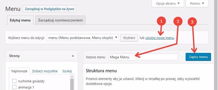 krok 1 tworzenie mega menu w divi