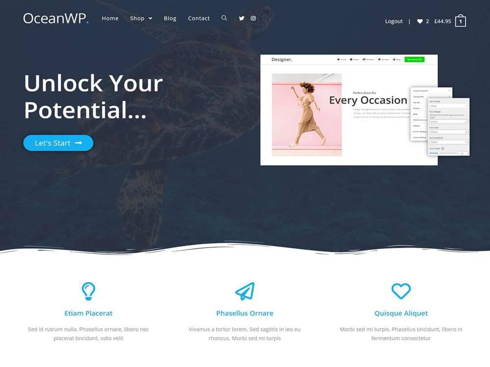 Najlepszy darmowy motyw WordPress 2020 - Ocean WP